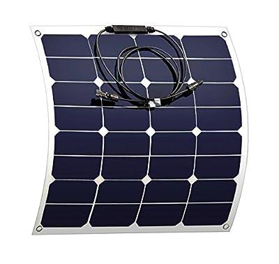50 Watt Solar Panel 18V 12V Flexible SunPower Solar Panel Charger Bendable Thin Lightweight Solar Charger with MC4 for RV, Car, Tent, Boat, Cabin Solar Module