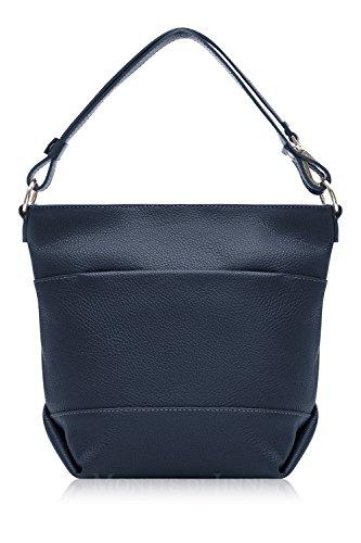 Italian Leather Bucket Shoulder and Cross Body Bag Navy