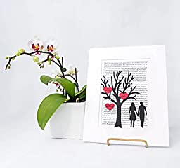 Personalized First Anniversary or Wedding Gift - 3D Paper Tree & Hearts - Custom 1st Anniversary Gift- Paper Anniversary - \