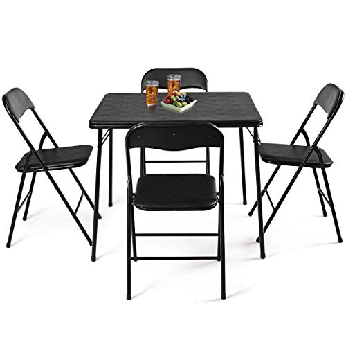 - AK Energy 5 PC Black Folding Game Card Dining Square Table Chair Set Kitchen Meeting School Cafeteria Canteen