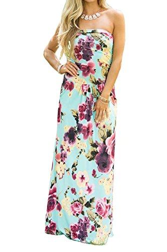 - Women Floral Sleeveless Empire Waist Strapless Beach Long Maxi Dress Lake Blue L