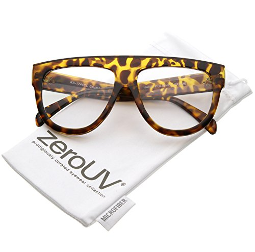 zeroUV - Oversize Flat Top Horn Rimmed Wide Arms Clear Lens Aviator Eyeglasses 56mm (Tortoise / - Flattop Arms
