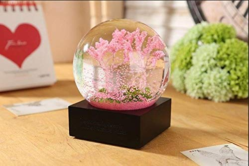ZAMTAC Four Season Crystal Ball Glass Water Snow Globe Spring Pink Cherry Blossoms Summer Flower Autumn Golden Maple Leaf Winter White - (Color: Single Spring Big)
