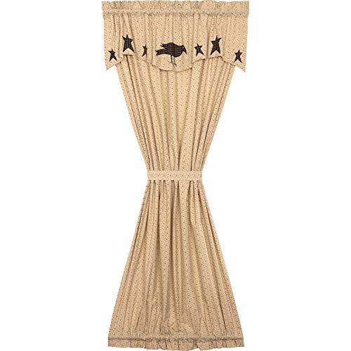 VHC Brands Primitive Curtains Kettle Grove Crow Rod Pocket Cotton Tie Back(s) Appliqued Star Door Panel, Country Black