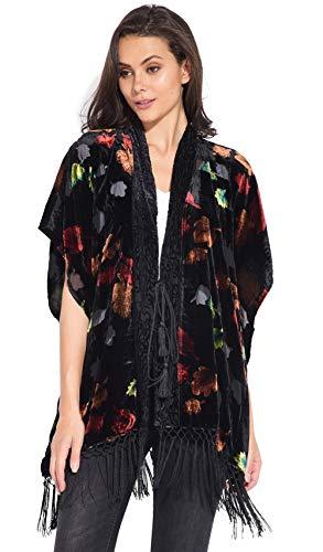 Idees Velours Femme Imprimé 101 Noir En Kimono RwqRSO