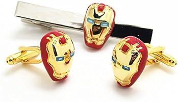 New Pair Red /& Gold Iron Man Marvel Super Hero Cufflinks Mens Shirt Superhero