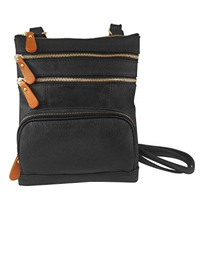 Strap Leathers Zippered Crossbody 3 Pockets Adjustable Black Roma Front Purse xZAwB