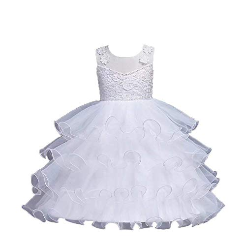 (Girls Embroidery Flower Kids Pageant Prom Ball Gown Dress(White-7-8 Years))