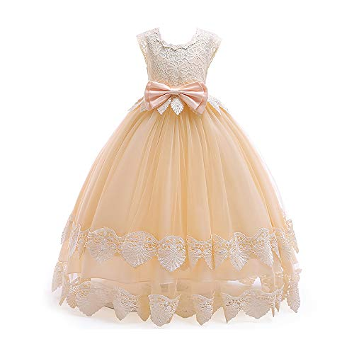 LIVFME Ball Gowns for Girls Flower Girl Dresses Kids Princess Wedding Embroidered Pageant Champagne Prom Elegante Dress 8t 9t M03A160 - Wedding Gown Pageant Prom