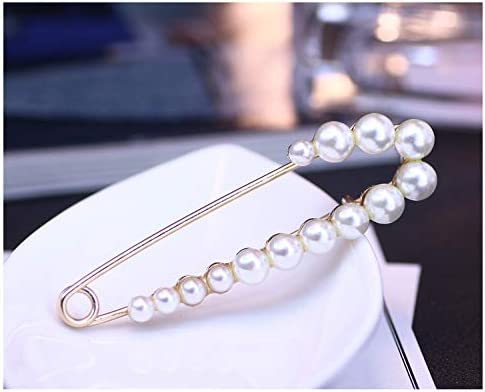 YANCHUN 4 Pieces Pearl Brooch Pins for Women Cardigan Collar Dresses Shawl Clips Sweater Pin Set for Girls