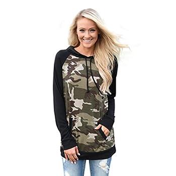 Women T-Shirt,Haoricu Womens Camouflage Pocket Hoodie Sweatshirt Blouse (M, Camouflage 1)