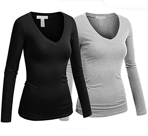 Hollywood Star Fashion Women's Long Sleeve V-Neck Tee Tank Top Shirt, 2 Pack - Black, H Gray, Large (Tank Top V-neck Sleeve Long)