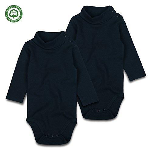 - Baby Turtleneck Bodysuits Long-Sleeve Cotton Onesies Black 2 Pack 0-24M (3-6M)