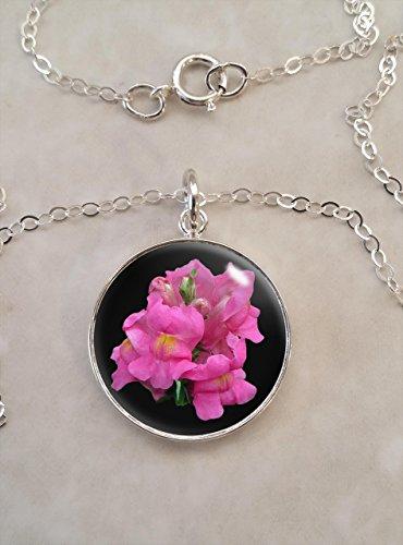 Pink Snapdragon Flower .925 Sterling Silver Necklace