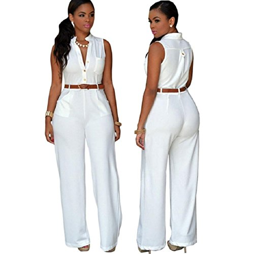 Wide Belted Jeans (Lookatool Women's Sexy Plunge V Neck Belted Wide Leg Jumpsuits Dress With Belt (L,)