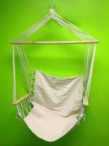 Hammock Chair Hanging Rope Chair Swing - Patio Porch Swing Outdoor Chair - Beige by - Canvas Arm Chair