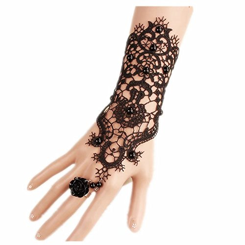Bridal Black Flower Gothic Victorian Lace Vampire Vintage Women Handmade Bridal Bracelet Ring Set -