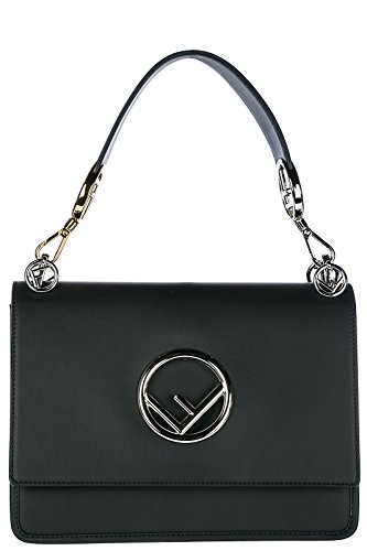 Fendi women's leather shoulder bag original kan i f black Fendi Black Bag