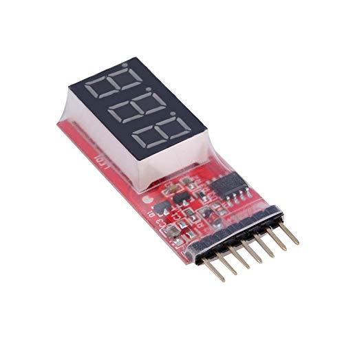 Pudincoco RC Voltage Lipo Indicador del medidor de batería Indicador 2-6 Celdas Voltímetro del Panel LED para 2S-6S (7.4V ~...