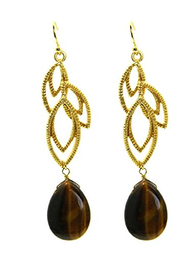 - Gold Tone Textured Earrings with Tigers Eye Teardrops