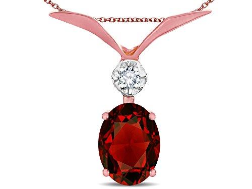 Star K Oval 8x6mm Genuine Garnet V Shaped Pendant Necklace 14 kt Rose Gold -
