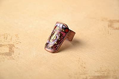 Copper Ring With Colorful Enamel Painting