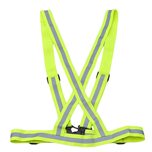 Rurah Safety Gear Reflective Vest High Visibility Day And Night for Jogging, Cycling, Working, Motorcycle Riding, or Running,Green yellow
