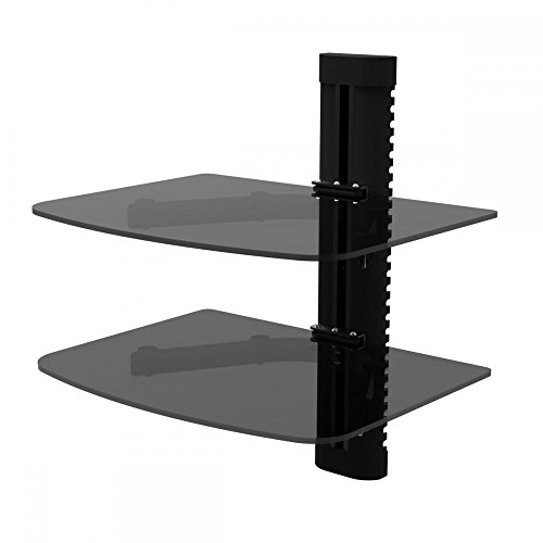 Durable 2 Tier Glass Shelf Wall Mount Bracket for DVD Player