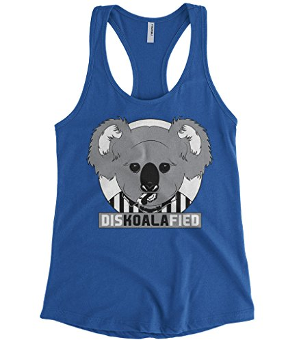 Cybertela Women's DISKOALAFIED, Koala Bear Referee Racerback Tank Top (Royal Blue, Medium)