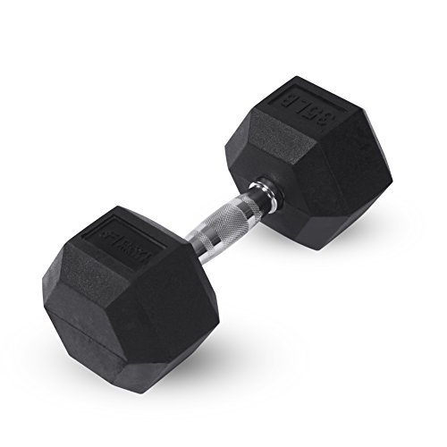 Day 1 Fitness Rubber Hex Dumbbell – 8 Size and Bundle Options, 5-40lbs – Shaped Heads Prevent Rolling and Injury…
