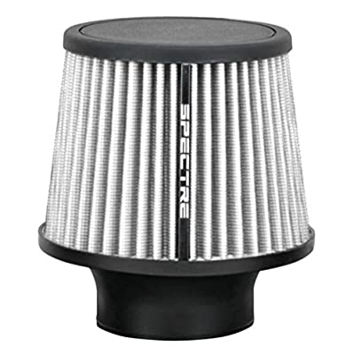 Spectre Universal Clamp-On Air Filter: High Performance, Washable Filter: Round Tapered; 3 in (76 mm) Flange ID; 6.5 in (165 mm) Height; 6 in (152 mm) Base; 4.75 in (121 mm) Top, SPE-9138: Automotive