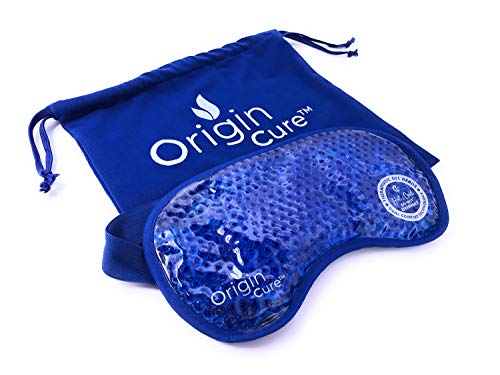 Origin Cure Hot/Cold Full Coverage Therapeutic Gel Beads Eye Mask - Reusable Adjustable Ultra Soft Pain Relief Therapy Treatments for Headache, Migraines, Puffy Eyes, Allergies, Sinuses, Relaxation
