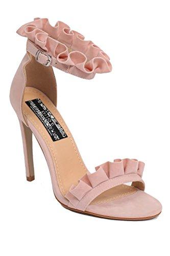 sandales moulantes Rose détail hauts talons jabot à PILOT® Ple wqtEaz7