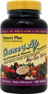 Plus 180 Tabs (Nature's Plus - Source of Life Mini Tabs No Iron, 180 count)