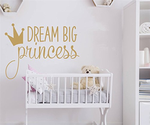JOYRESIDE Dream Big Princess With Crown Wall Decal Vinyl Sticker For Kids Baby Girls Bedroom Decoration Nursery Home Decor Mural Design YMX18 - Girl Decor Home