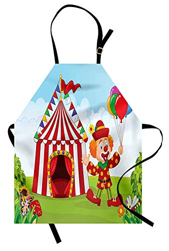VCFUN Circus Adjustable Bib Aprons, Circus Tent with Clown Holding a Balloon in The Green Park Lawn and The Butterfly Women/Men Kitchen Apron with Extra Long Ties for Chef Cooking Baking, Small