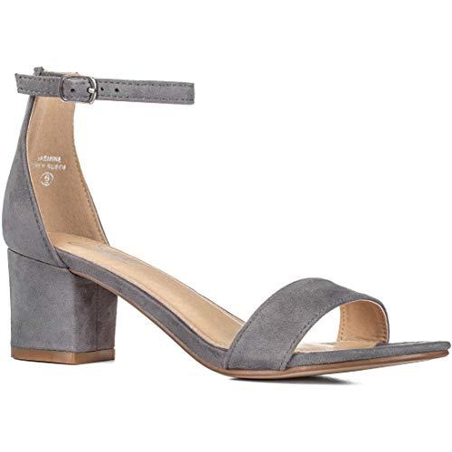 (Women's Fashion Ankle Strap Kitten Heel Sandals - Adorable Cute Low Block Heel - Jasmine (9,)