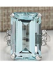 Zhiwen Vintage Fashion Women 925 Silver Aquamarine Gemstone Ring Engagement Wedding Jewelry Size 5-11 (11#)