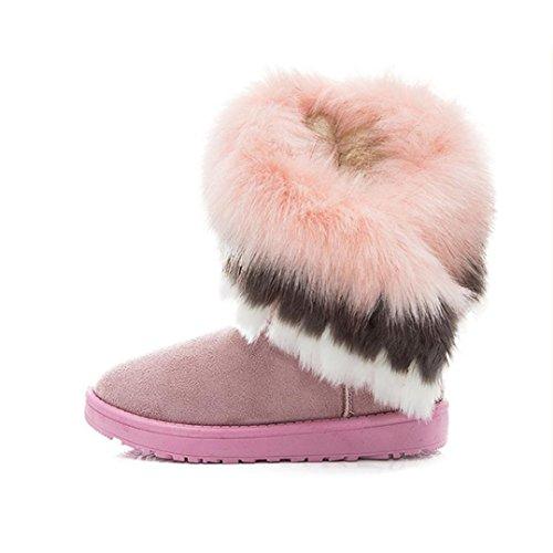 Damen Stiefel,Amlaiworld Frauen Haus Schnee Bootvinculum weiblich warme Schuhe Knöchel Schnürschuh Snow Boots Fell Stiefel Winter warme Schneeschuhe Rosa