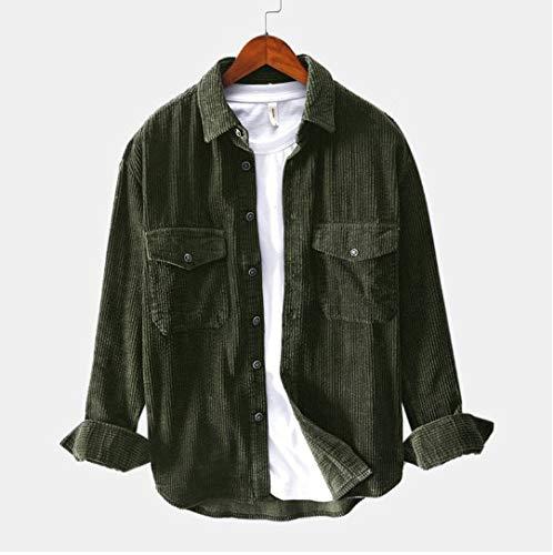 GNYD Camicie A Manica Lunga per Uomo Casual Gilet Elegante in Camoscio di Velluto Coste Invernale Caldo T Shirt con Bavero Tasca E Bottone Stile Cappotto