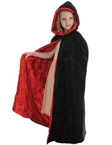 [Children's Deluxe Velvet Hooded Cape - Embossed Pintuck] (Little Vampire Costume)