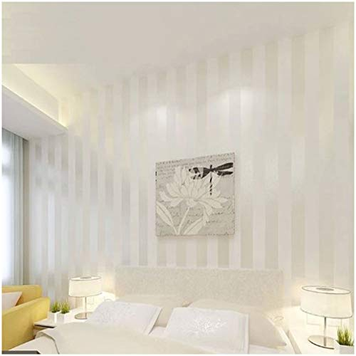 QIHANG European Modern Minimalist Country Luxury Stripe Wallpaper Roll for Living Room Bedroom Tv Backdrop Wall Cream&white Color