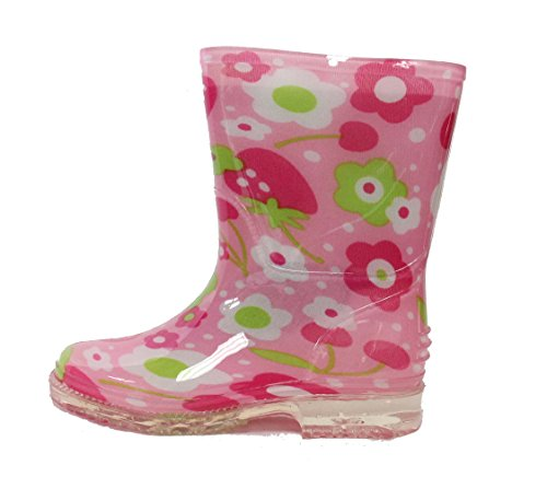 Easy USA Kids Rain Boot Shiny Solid Body (Toddler/Little Kid) (9 M US Toddler, Pink ()