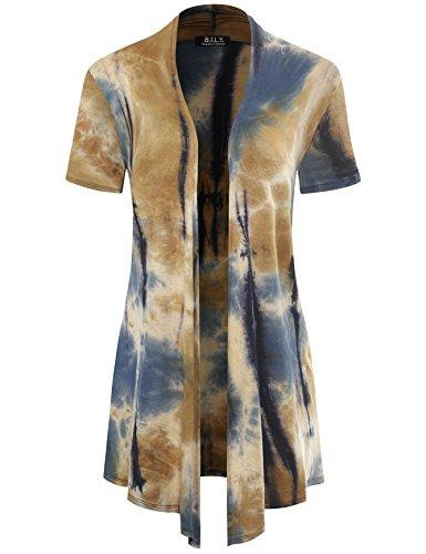 - BH B.I.L.Y USA Women's Classic Asymmetrical Front Short-Sleeve Drape Cardigan Tie-Dye Taupe Medium