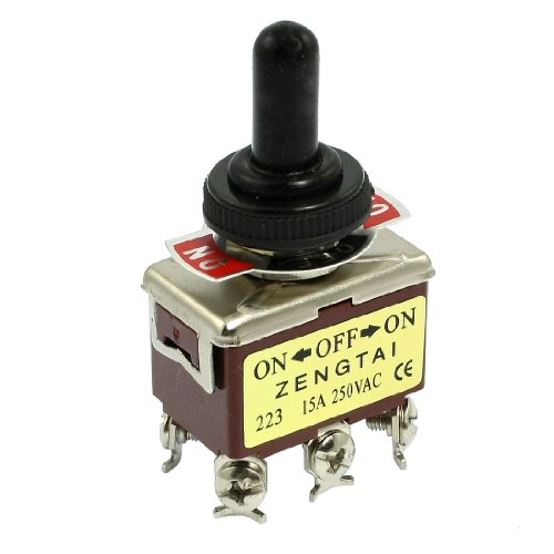 Uxcell a12102900ux0722 Toggle Switch, AC 250V 15 Amp, 6 Pin DPDT On/Off/On 3 Position Mini