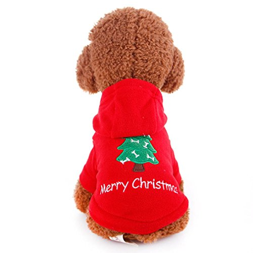 Howstar Pet Outfit, Cute Christmas Dog Hoodie Coat Christmas Tree Printed Small Dog Clothes (S, Red)