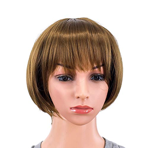 - SWACC 10 Inch Short Straight Bob Wig with Bangs Synthetic Colorful Cosplay Daily Party Flapper Wig for Women and Kids with Wig Cap (Brown)