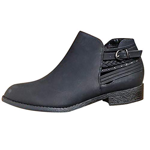 Basel Ankle Bootie,Londony Women's Slip On Chunky Heel Ankle Object Flats-Shoes Tarragon Ankle Bootie Dolly Boots Black