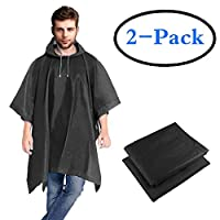 HOOMBOOM Rain Ponchos 2 Packs for Adults with Drawstring Hood Waterproof - Emergency Rain Coat for Theme Park, Hiking, Camping or Traveling, Disney Travel Concerts