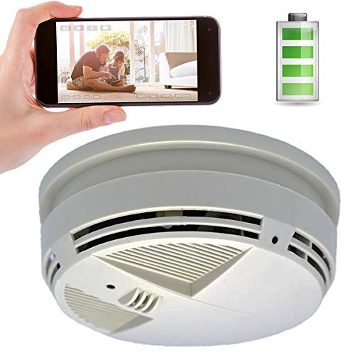 (Live Stream Video Down View Smoke Detector Hidden Camera w/Night Vision & 90-Day Battery + Cloud Recording)